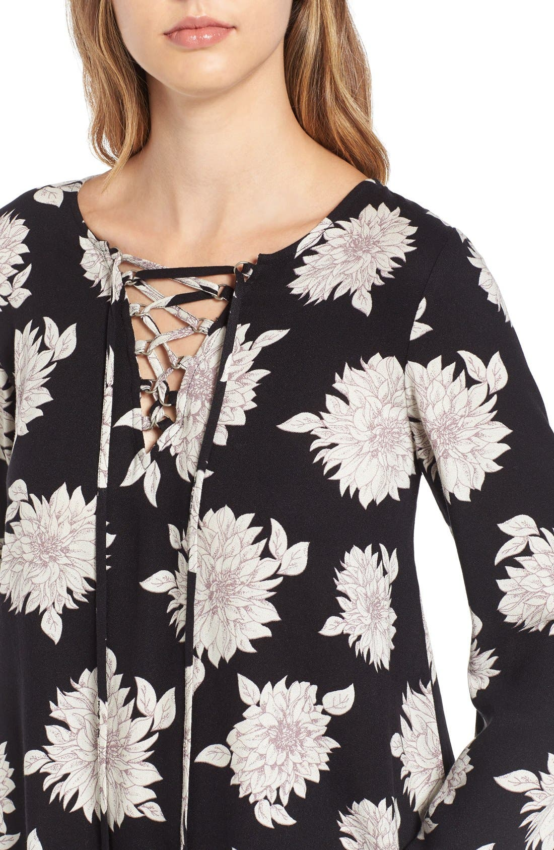 Alternate Image 4  - Sun & Shadow Floral Print Lace-Up Top