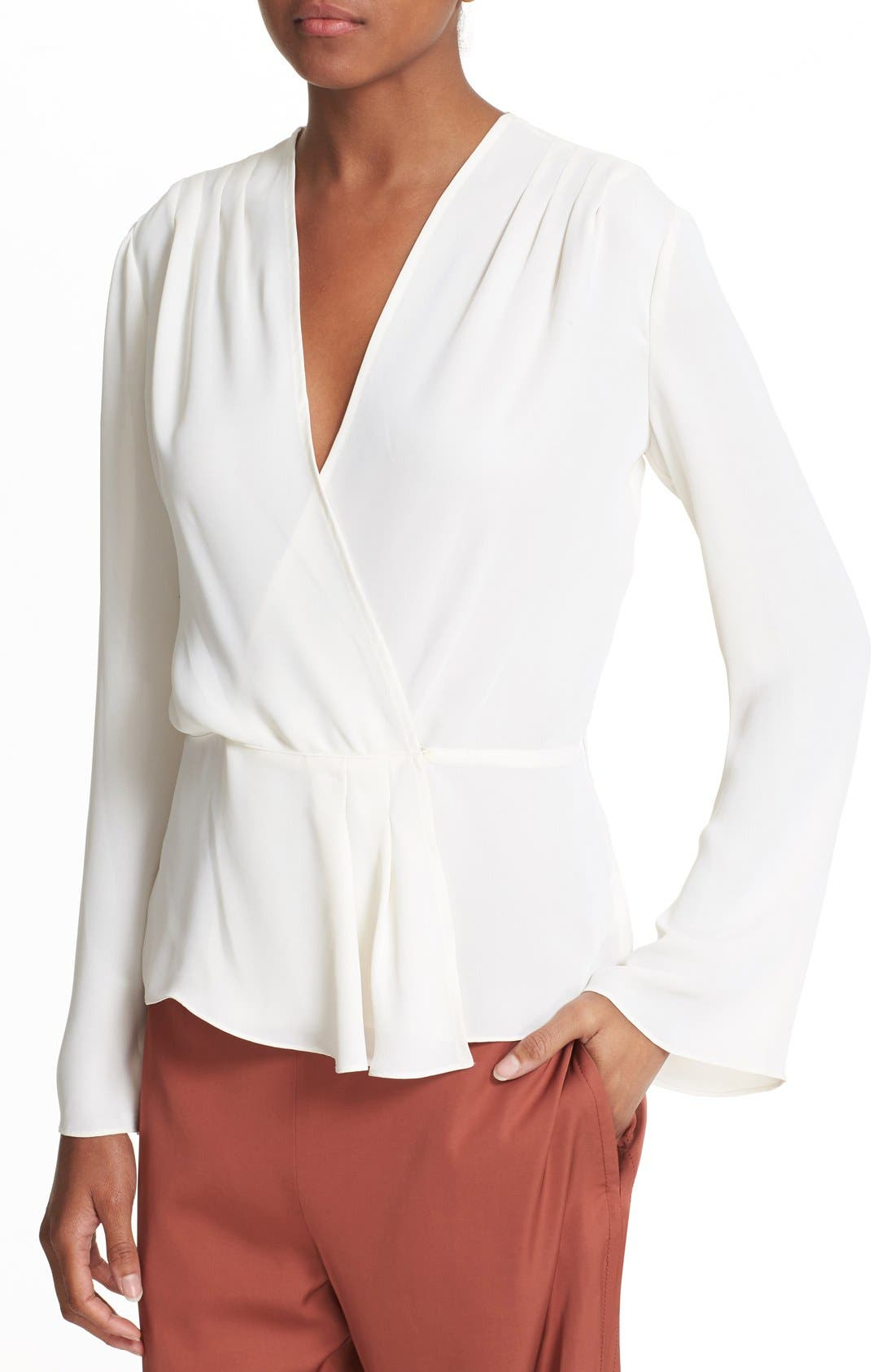 Alternate Image 4  - Elizabeth and James Layla Pleated Wrap Blouse