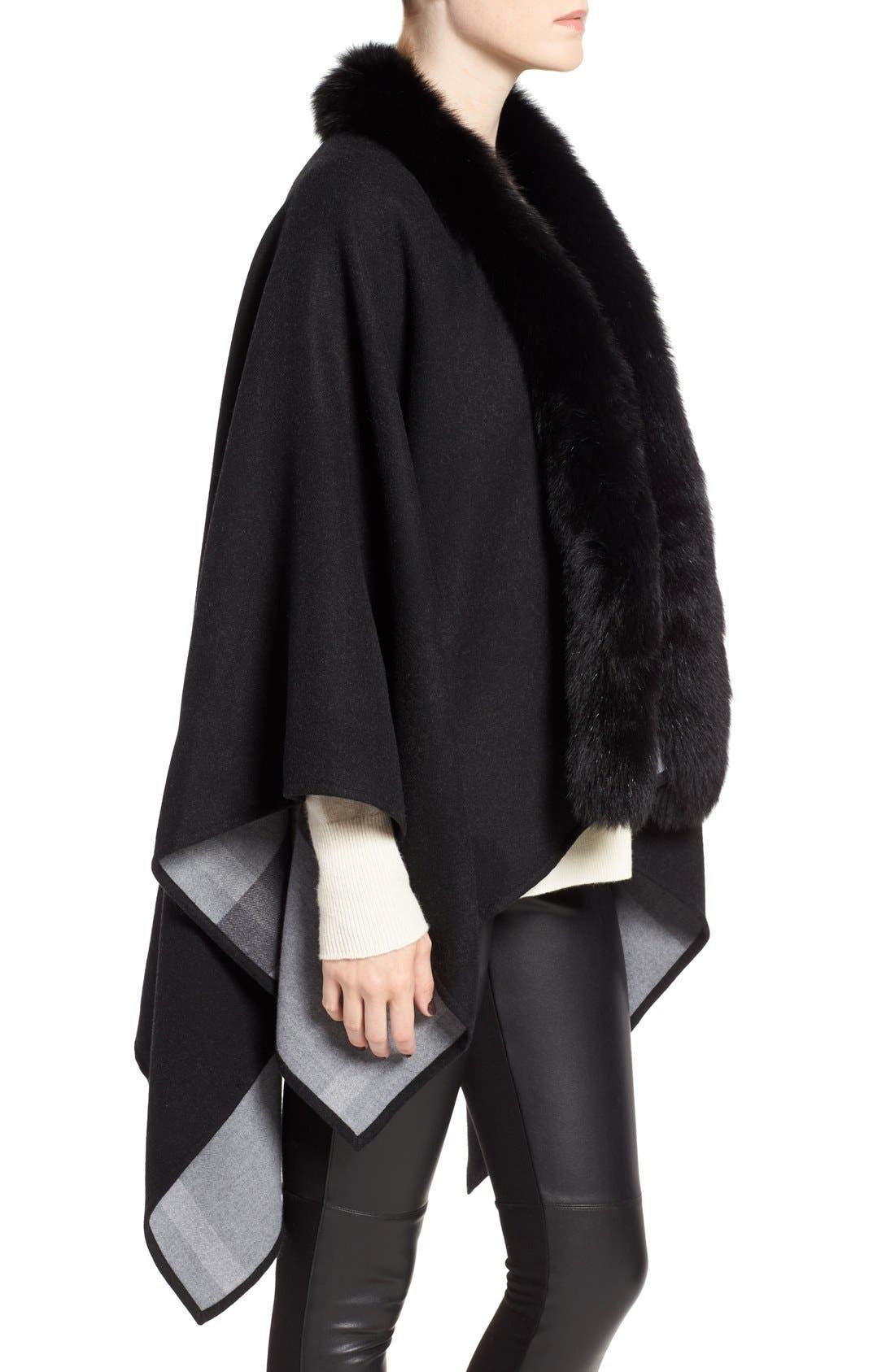 Alternate Image 3  - Burberry Merino Wool Cape with Genuine Fox Fur Trim