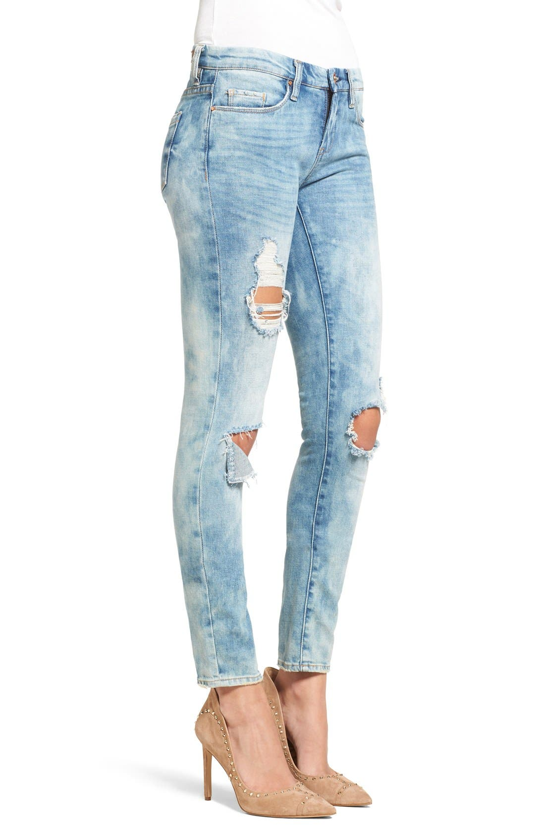 Alternate Image 4  - BLANKNYC Good Vibes Distressed Skinny Jeans (Medium Wash Blue)