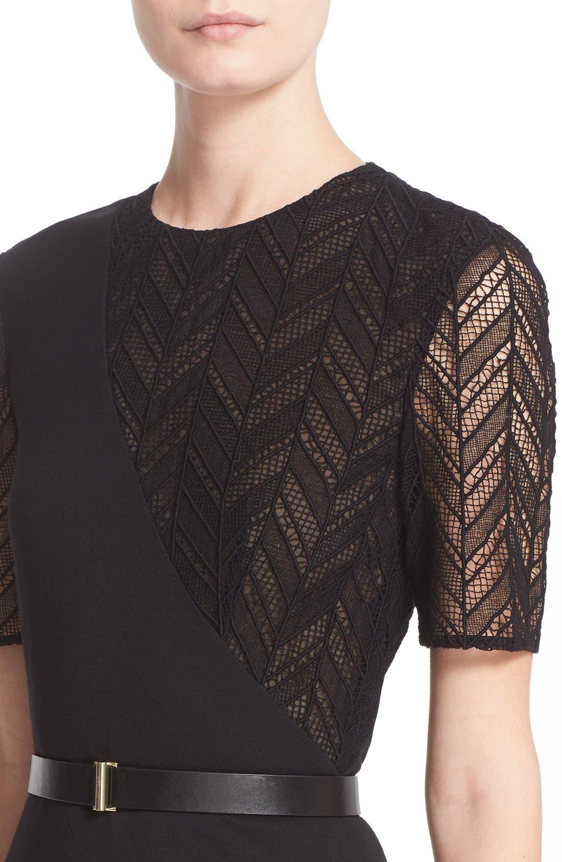 Alternate Image 6  - Jason Wu Chevron Lace & Ponte Knit Asymmetric Dress