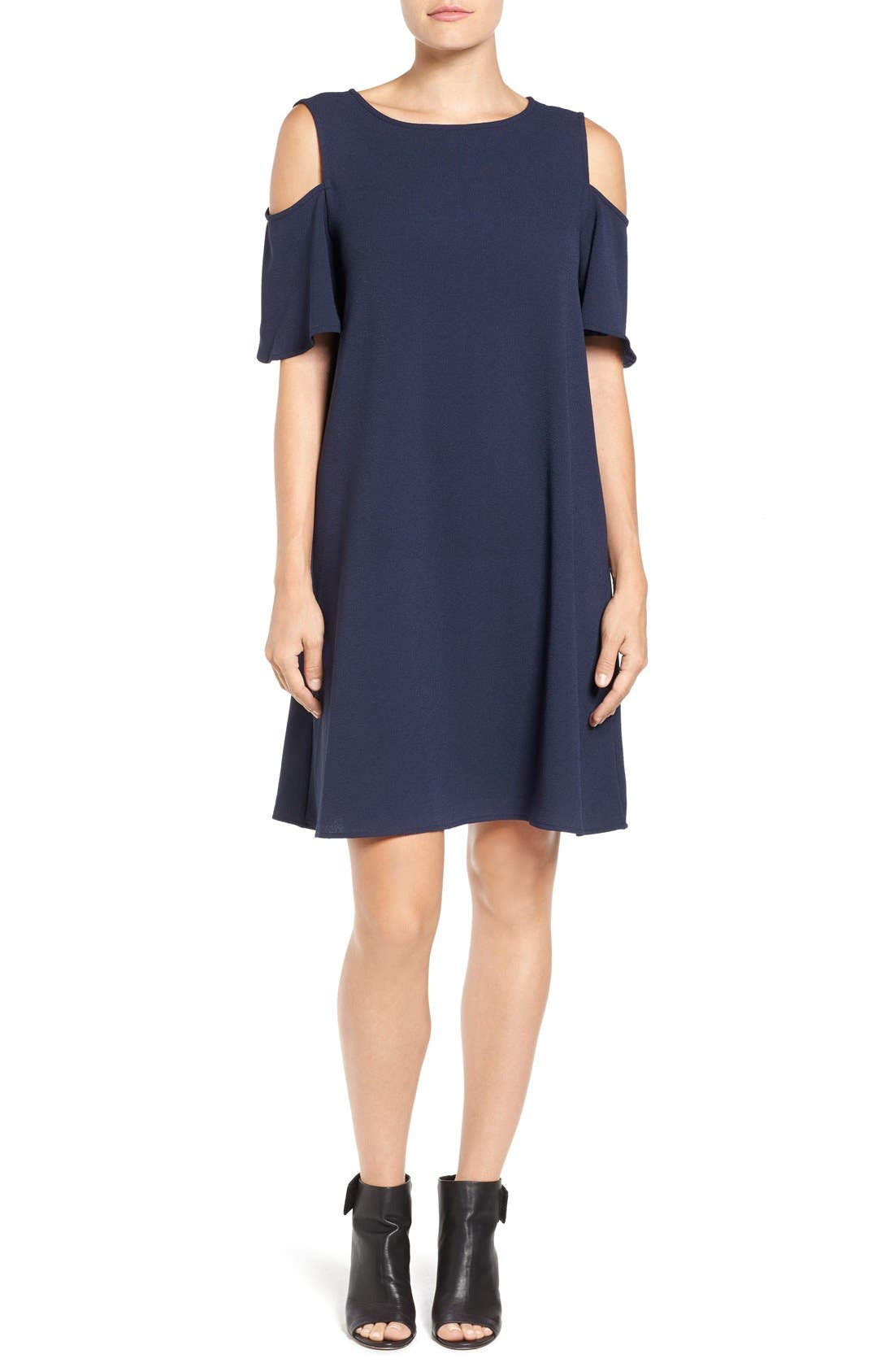 Bobeau Cold Shoulder Shift Dress (Regular & Petite)