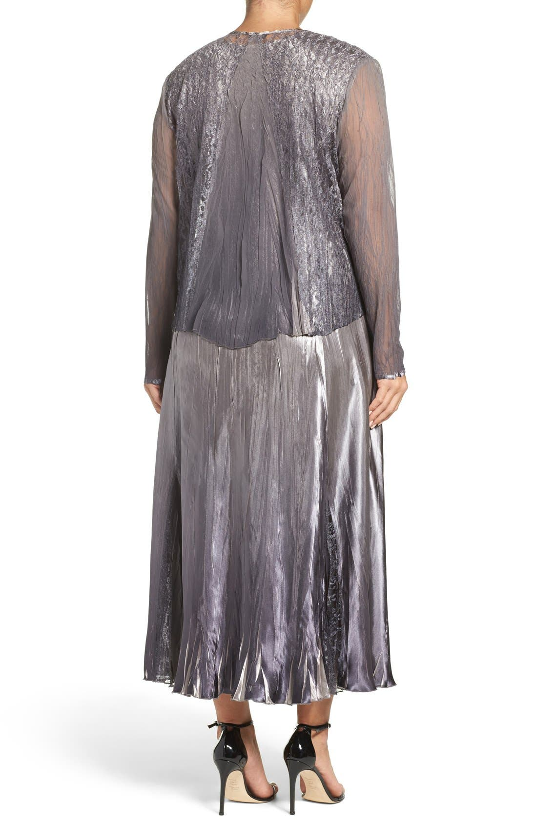 Alternate Image 2  - Komarov A-Line Dress & Lace Panel Jacket (Plus Size)