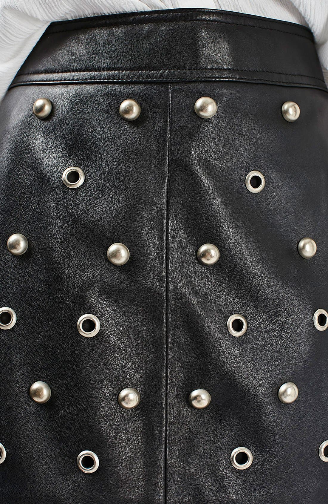 Alternate Image 5  - Topshop Stud & Grommet Leather Miniskirt