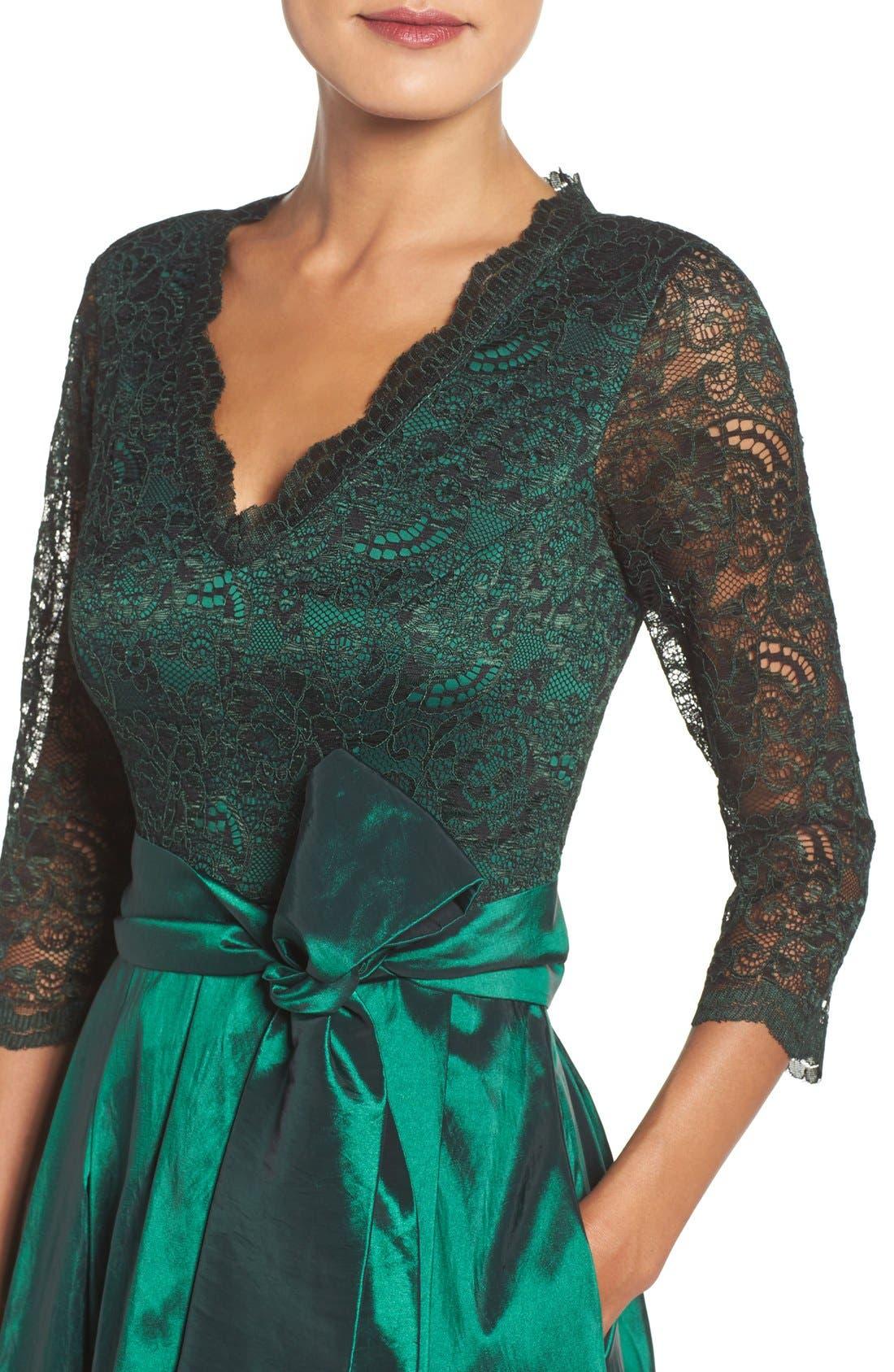 Alternate Image 4  - Eliza J Lace & Taffeta Gown