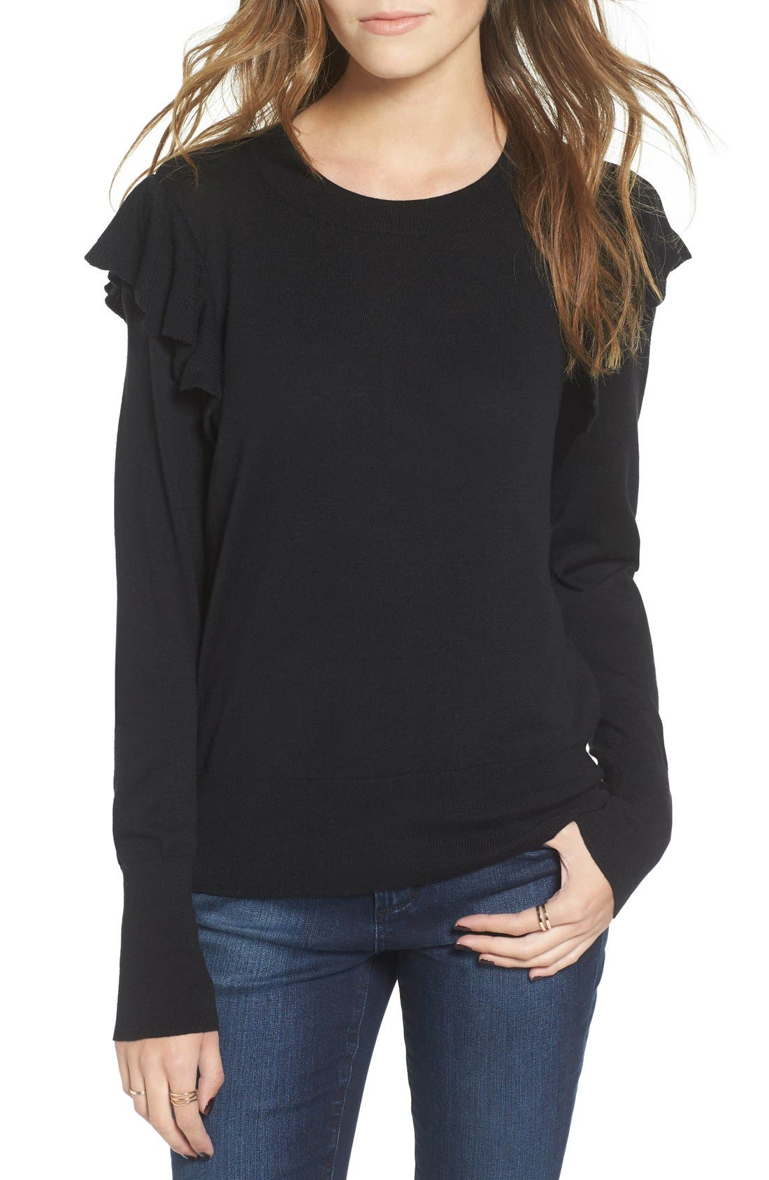 Alternate Image 1 Selected - BP. Knit Ruffle Sleeve Pullover