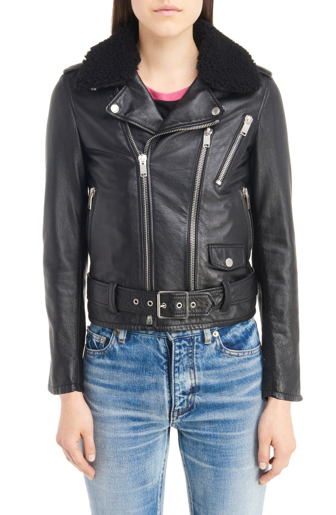 Main Image - Saint Laurent Leather Moto Jacket with Removable Genuine Shearling Collar