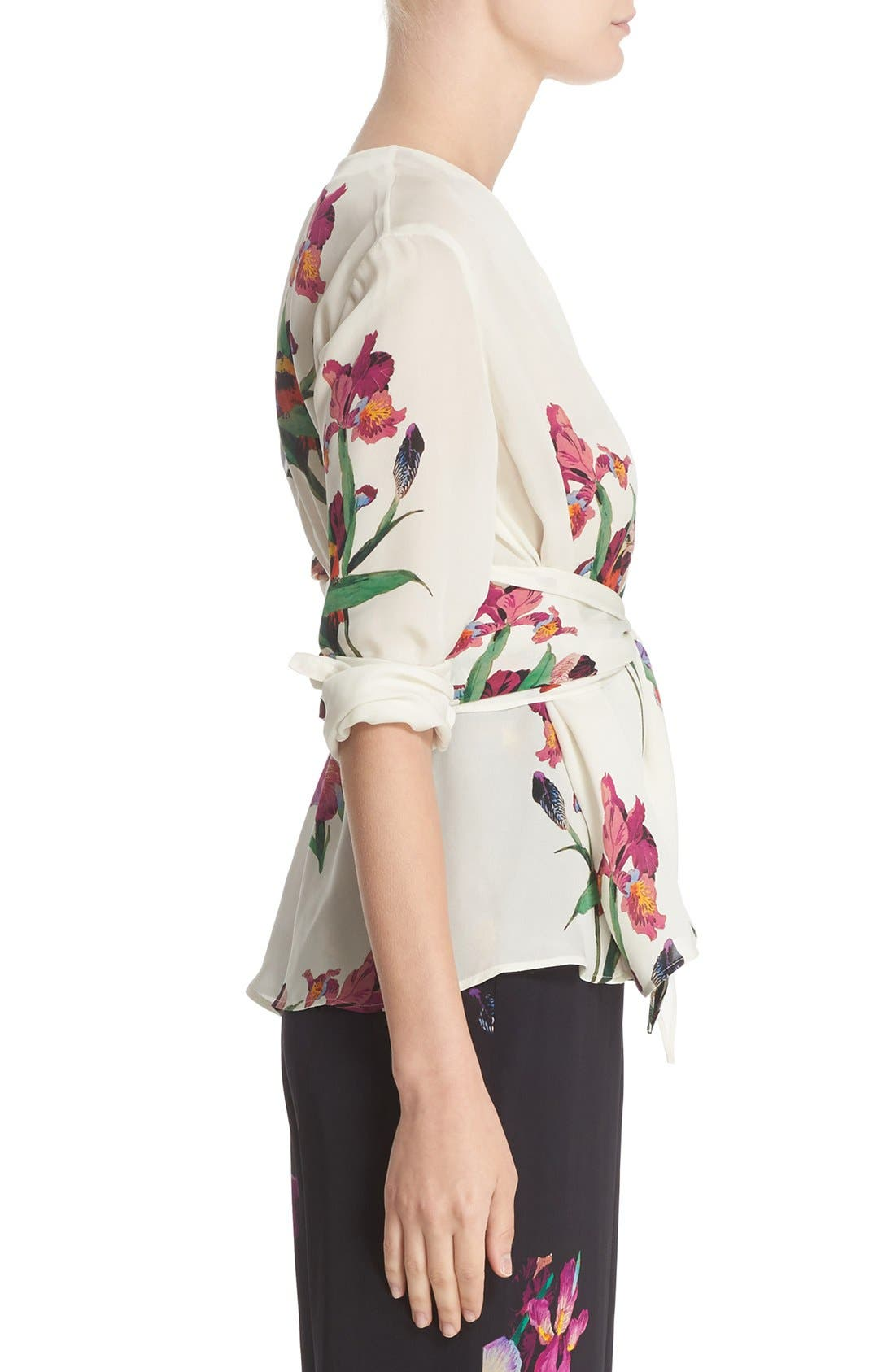 Alternate Image 5  - Etro Floral & Bird Print Silk Wrap Blouse
