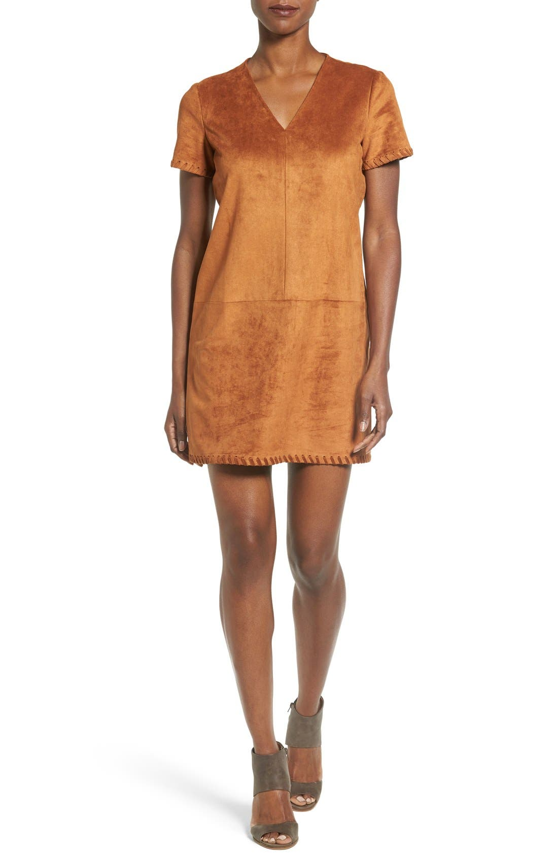 Catherine Catherine Malandrino 'Marcella' Whipstitch Detail Faux Suede Shift Dress