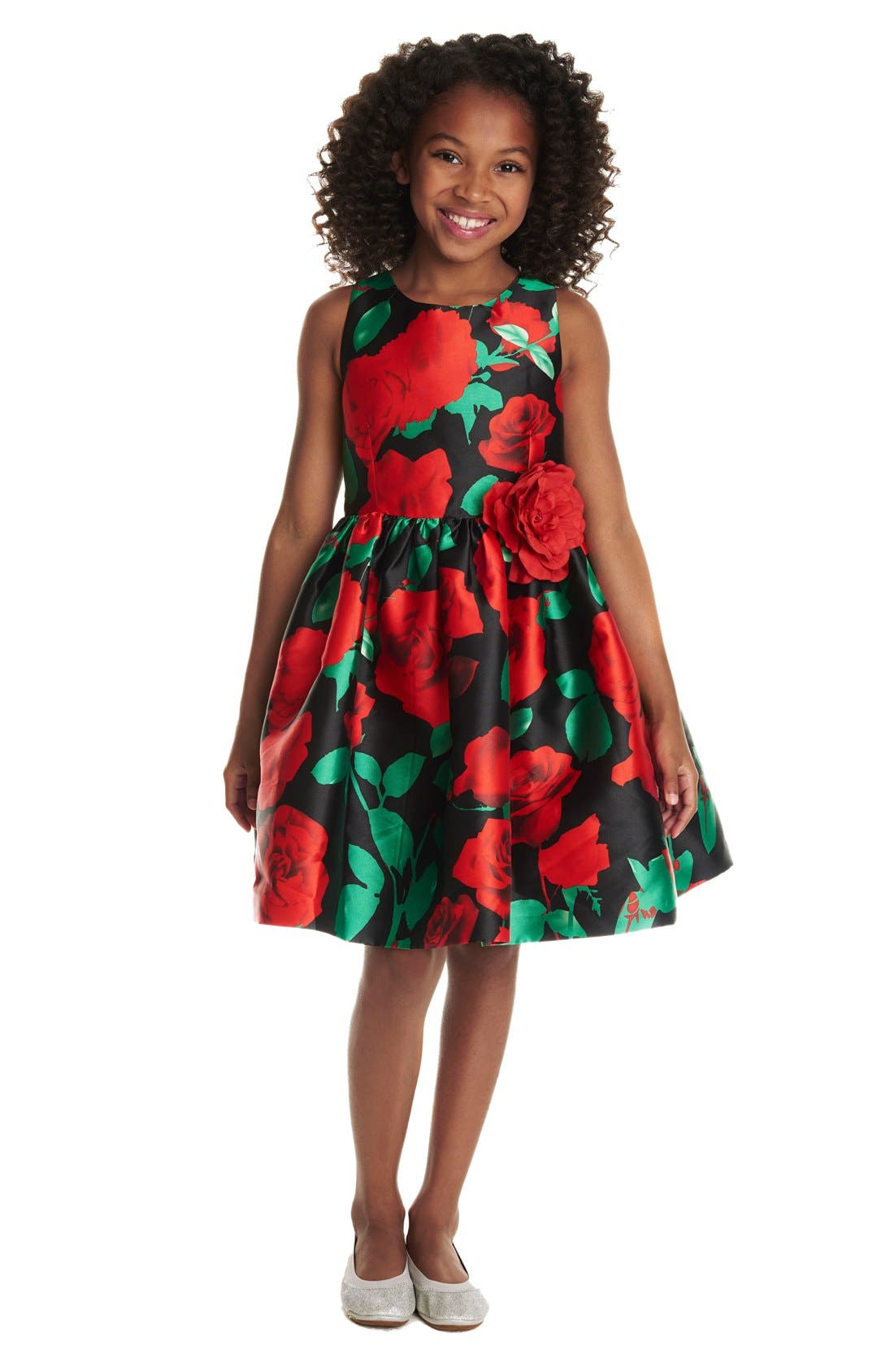 Alternate Image 2  - Pippa & Julie Rose Print Fit & Flare Dress (Toddler Girls, Little Girls & Big Girls)