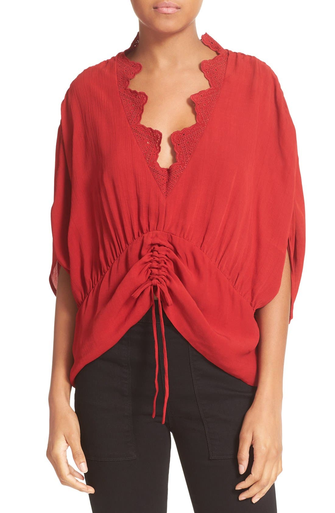 IRO Lace Trim Ruched Top