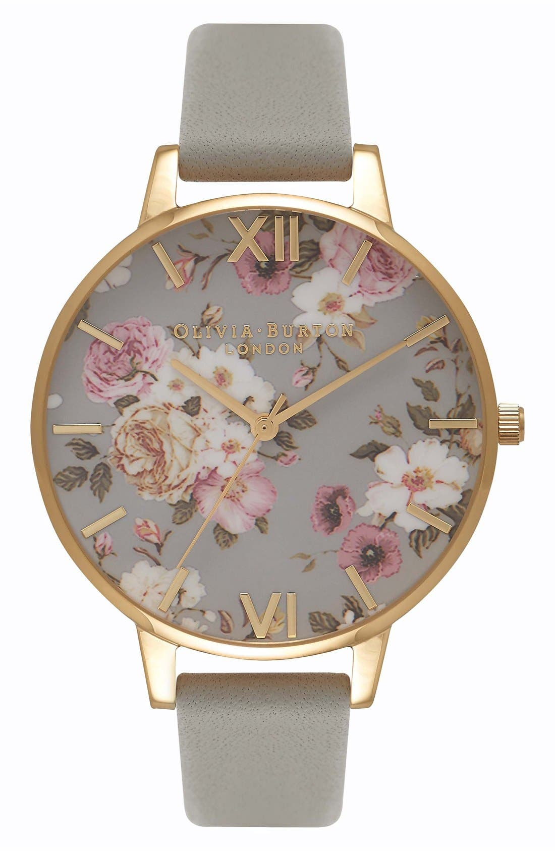 Olivia Burton Flower Show Leather Strap Watch, 38mm