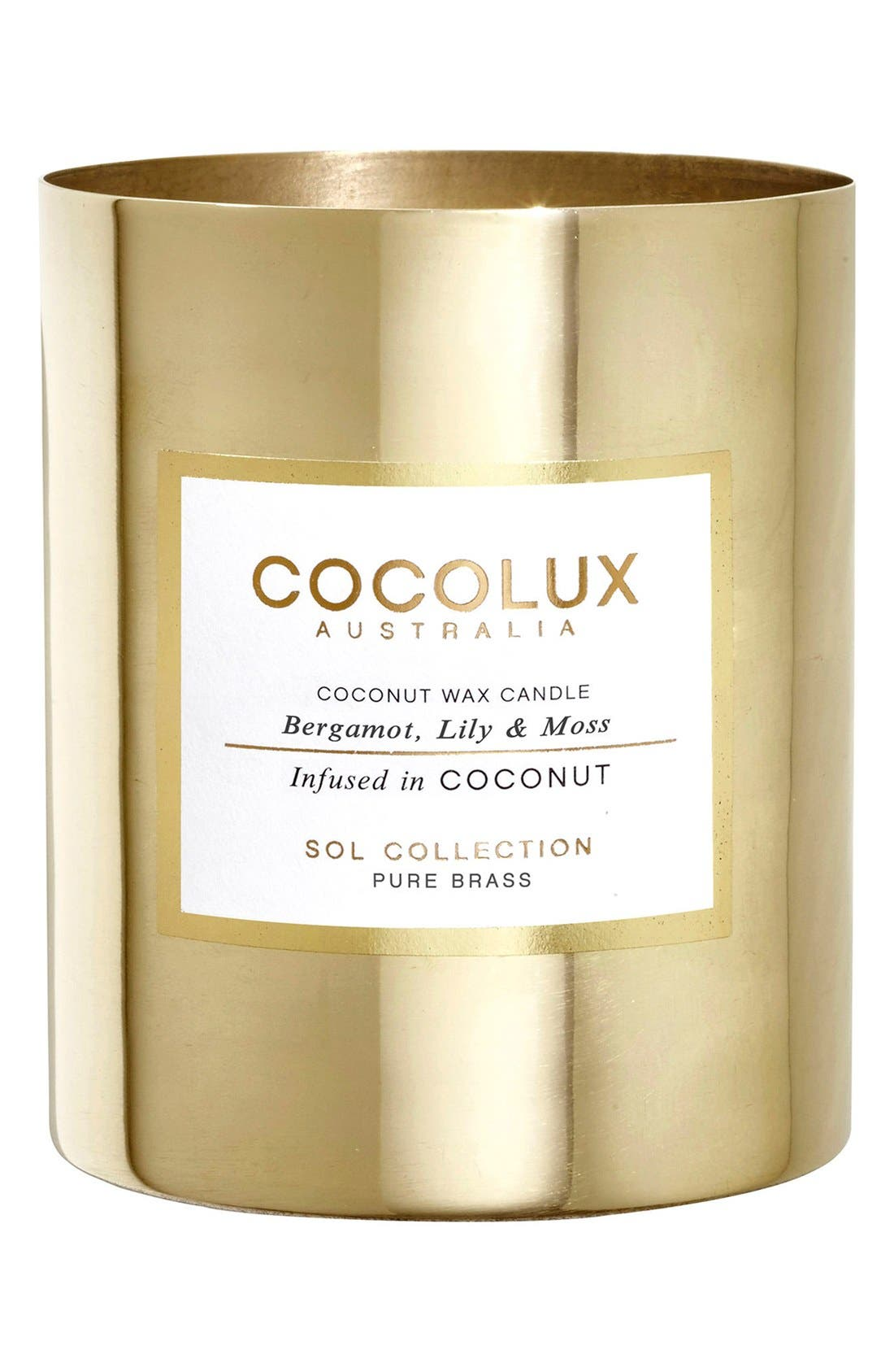 COCOLUX AUSTRALIA Bergamot, Lily & Moss Brass Candle