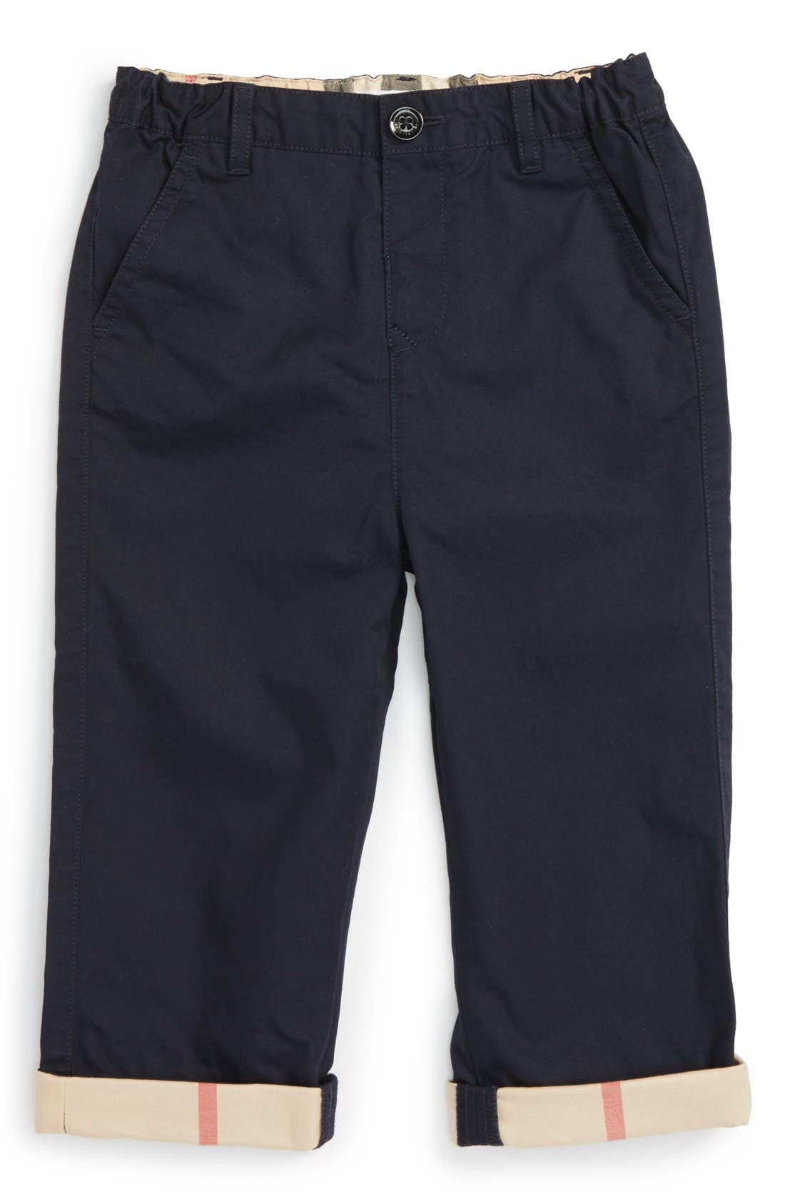 BURBERRY 'Ricky' Check Cuff Chino Pants