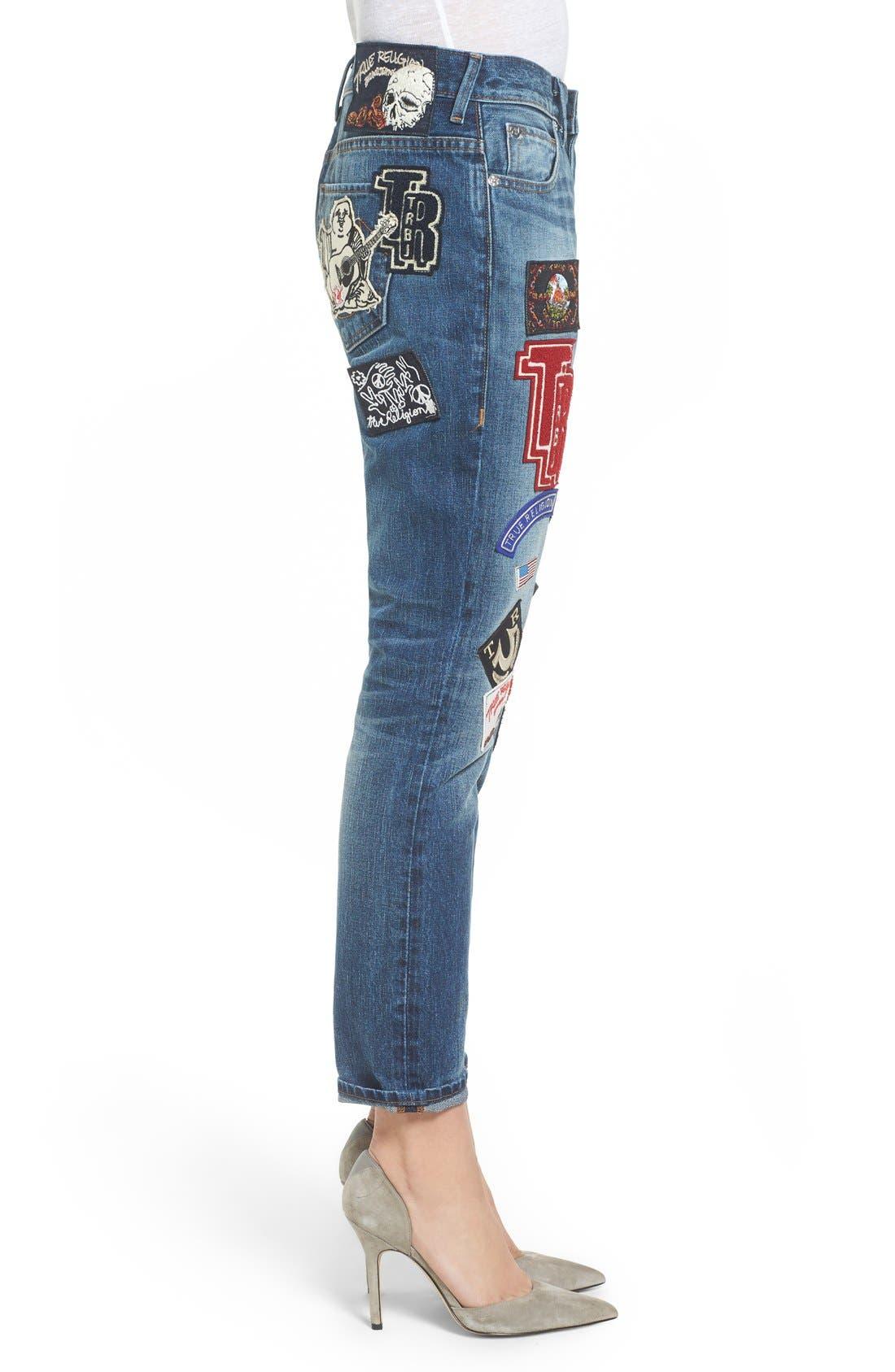 Alternate Image 3  - True Religion Brand Jeans Audrey Slim Boyfriend Jeans (Coronet Blue)