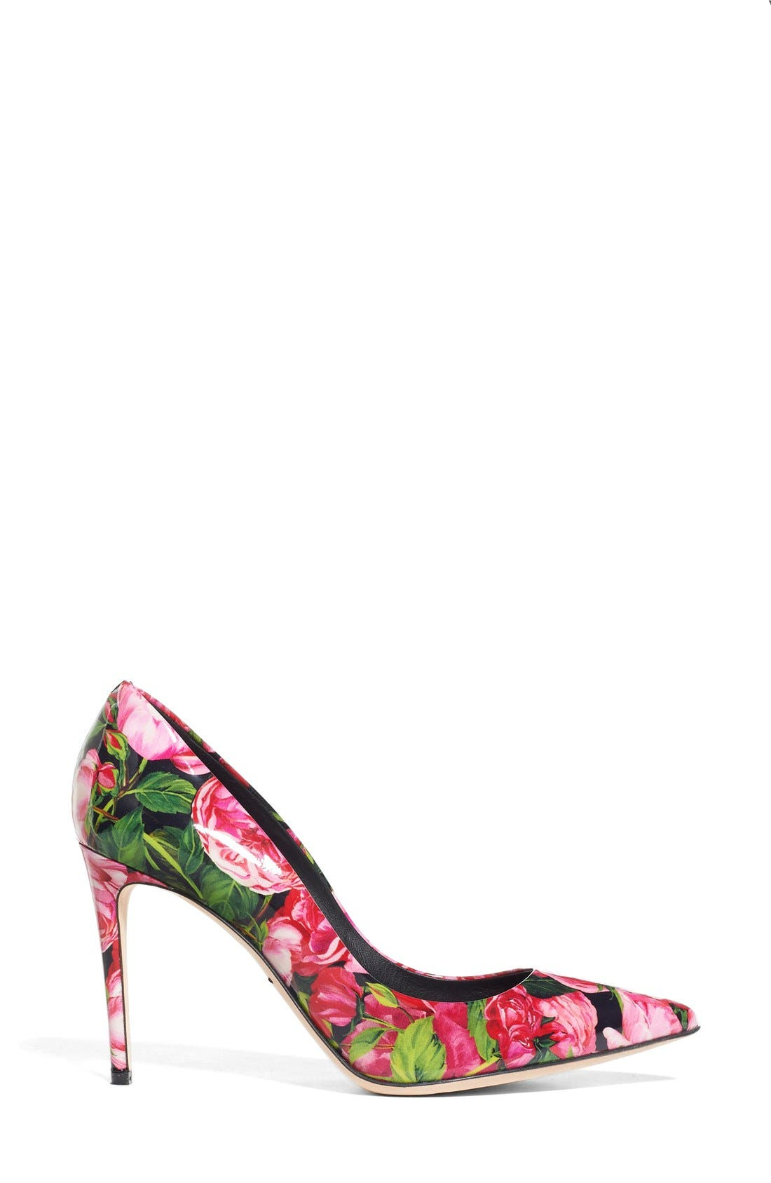 Alternate Image 4  - Dolce&Gabbana Rose Print Pointy Toe Pump (Women)