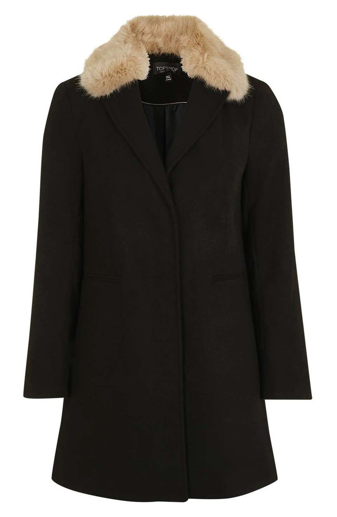 Alternate Image 4  - Topshop Faux Fur Collar Coat