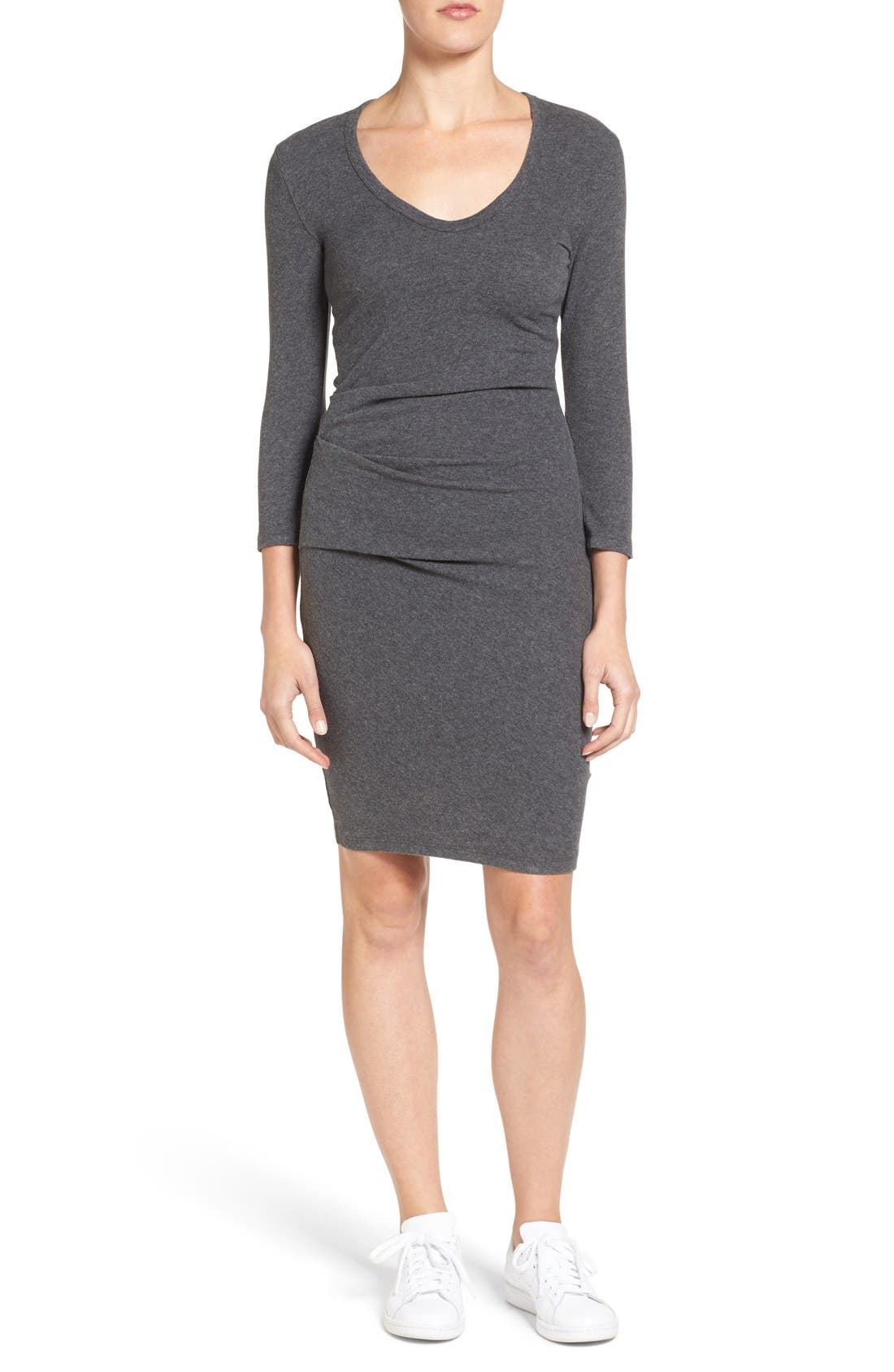 Alternate Image 1 Selected - James Perse Sueded Stretch Jersey Skinny Dress