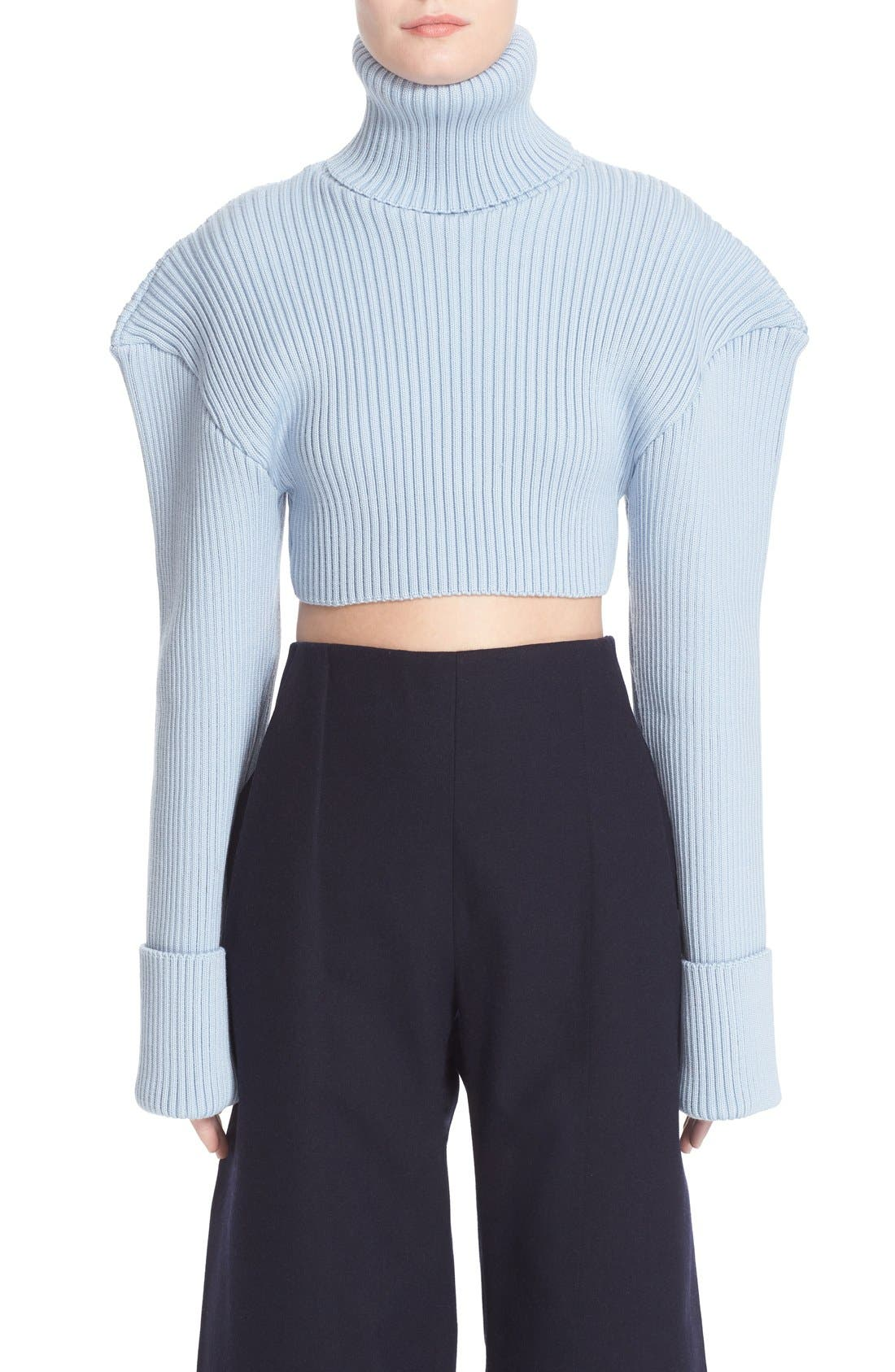 Alternate Image 1 Selected - Jacquemus Cropped Football Shoulder Turtleneck Sweater