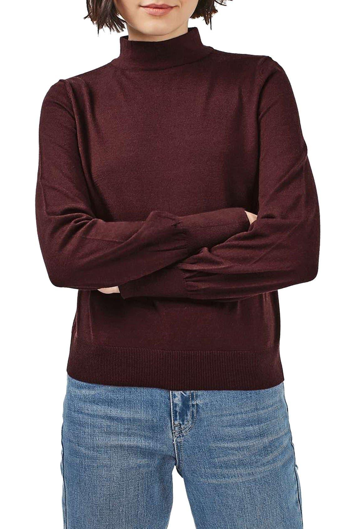 Alternate Image 1 Selected - Topshop Blouson Sleeve Mock Neck Sweater