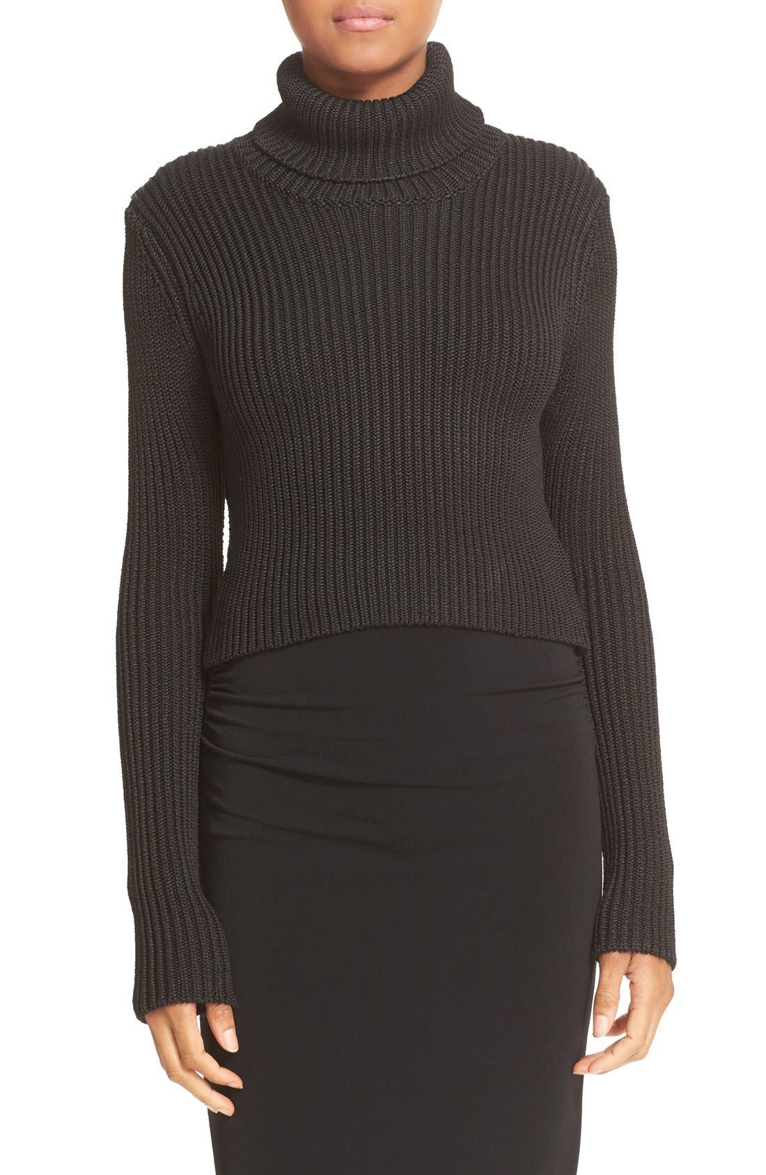 Main Image - Alice + Olivia Sierra Crop Rib Knit Turtleneck