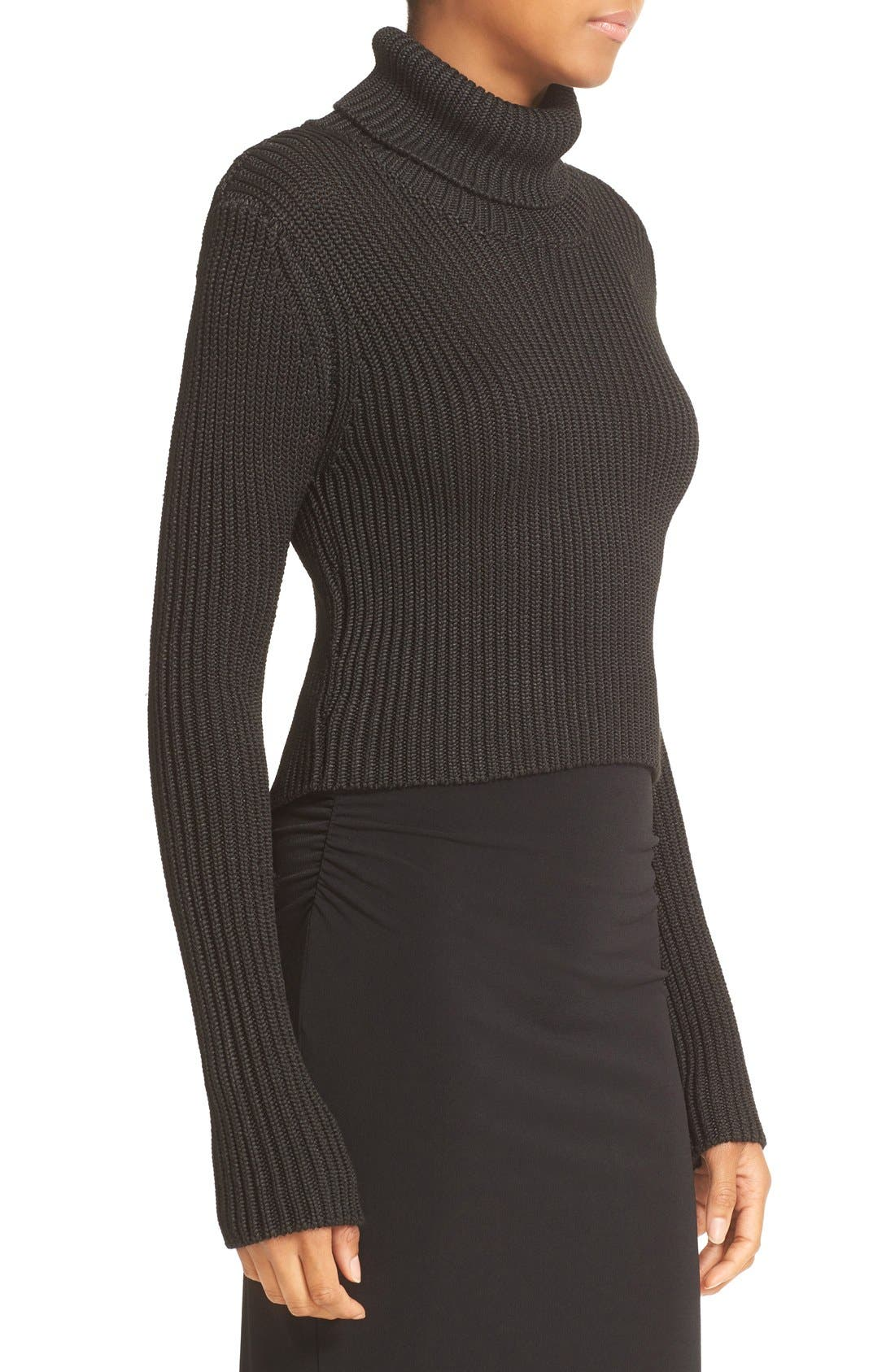 Alternate Image 3  - Alice + Olivia Sierra Crop Rib Knit Turtleneck