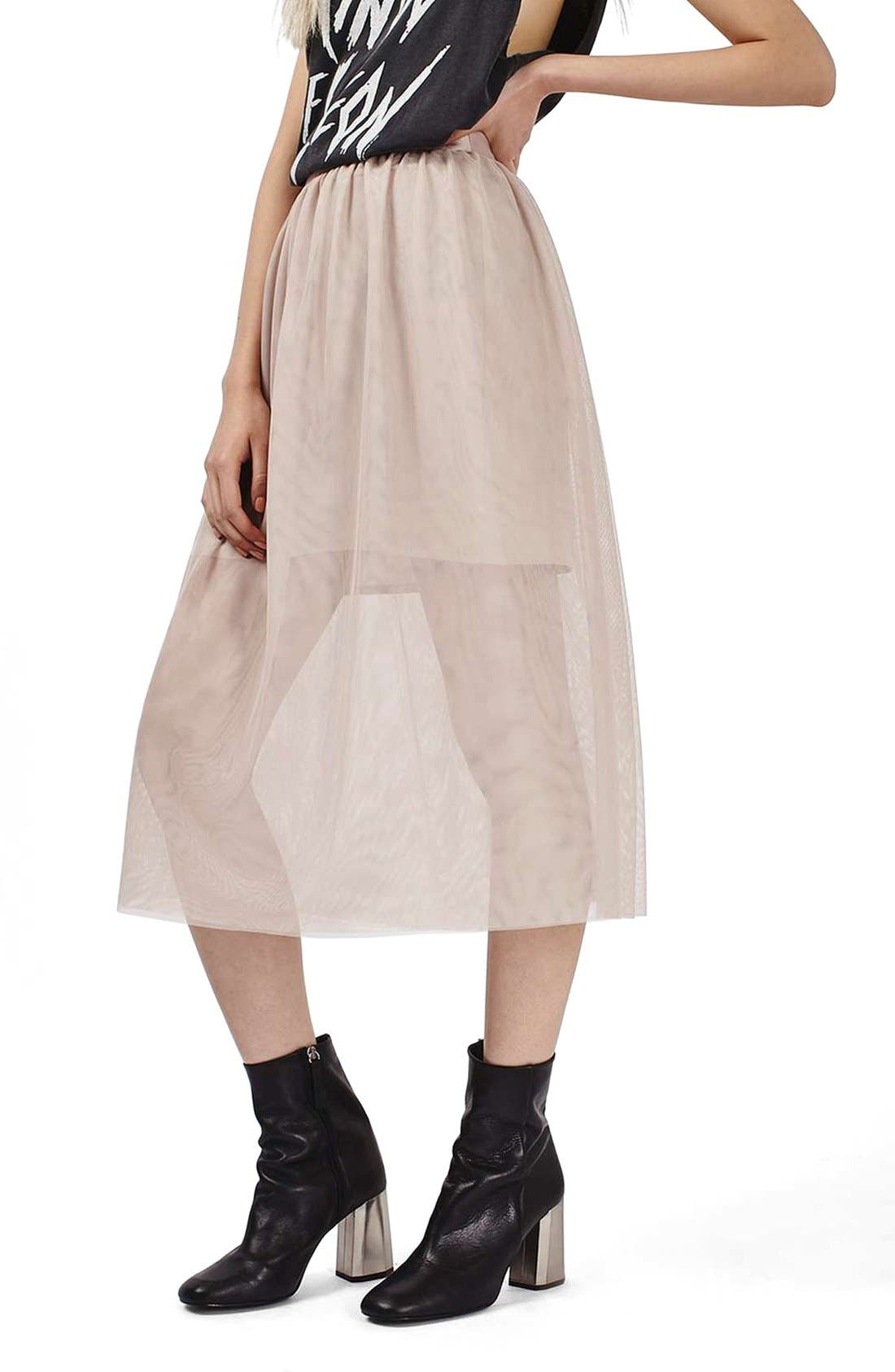 Main Image - Topshop Tulle Midi Skirt