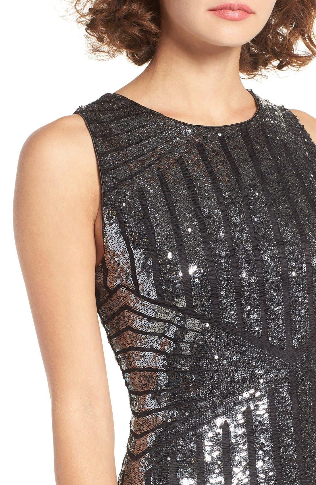 Alternate Image 4  - One Clothing Geometric Sequin Minidress