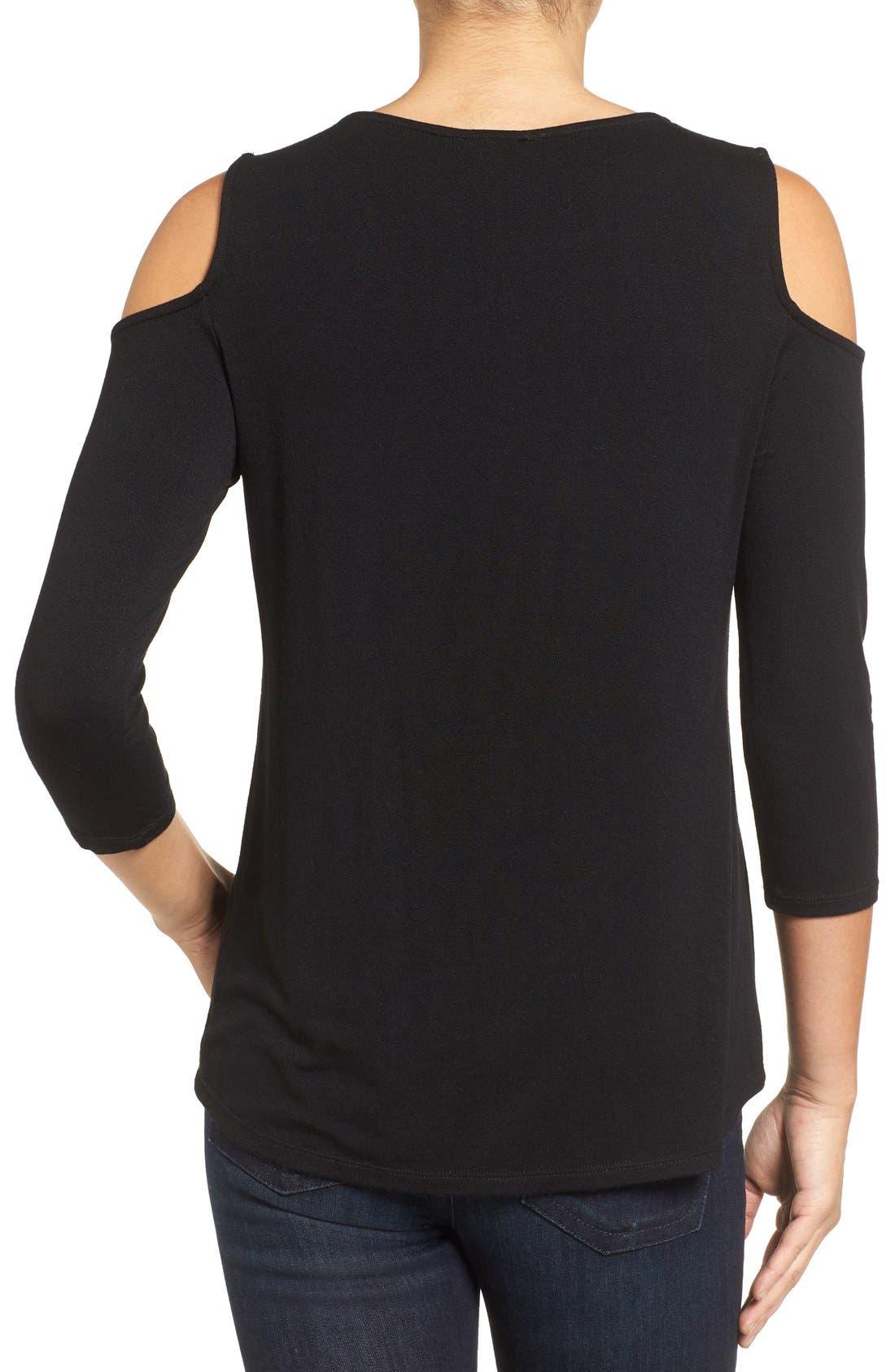 Alternate Image 2  - Halogen® Knit Cold Shoulder Tee (Regular & Petite)
