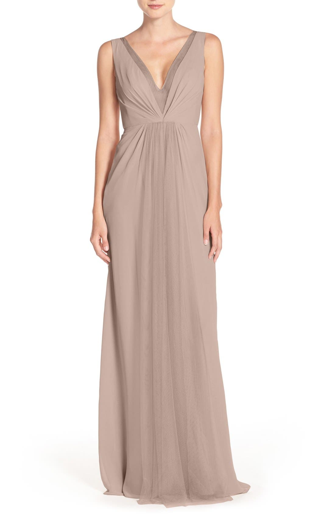 Alternate Image 1 Selected - Monique Lhuillier Bridesmaids Deep V-Neck Chiffon & Tulle Gown