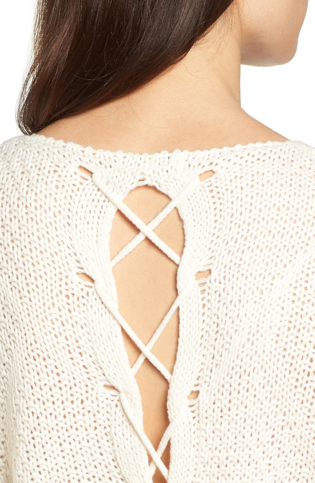 Alternate Image 4  - Woven Heart Lace-Up Knit Pullover