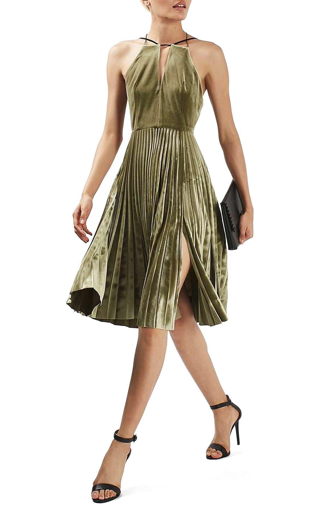 Alternate Image 2  - Topshop Pleated Velvet Fit & Flare Dress
