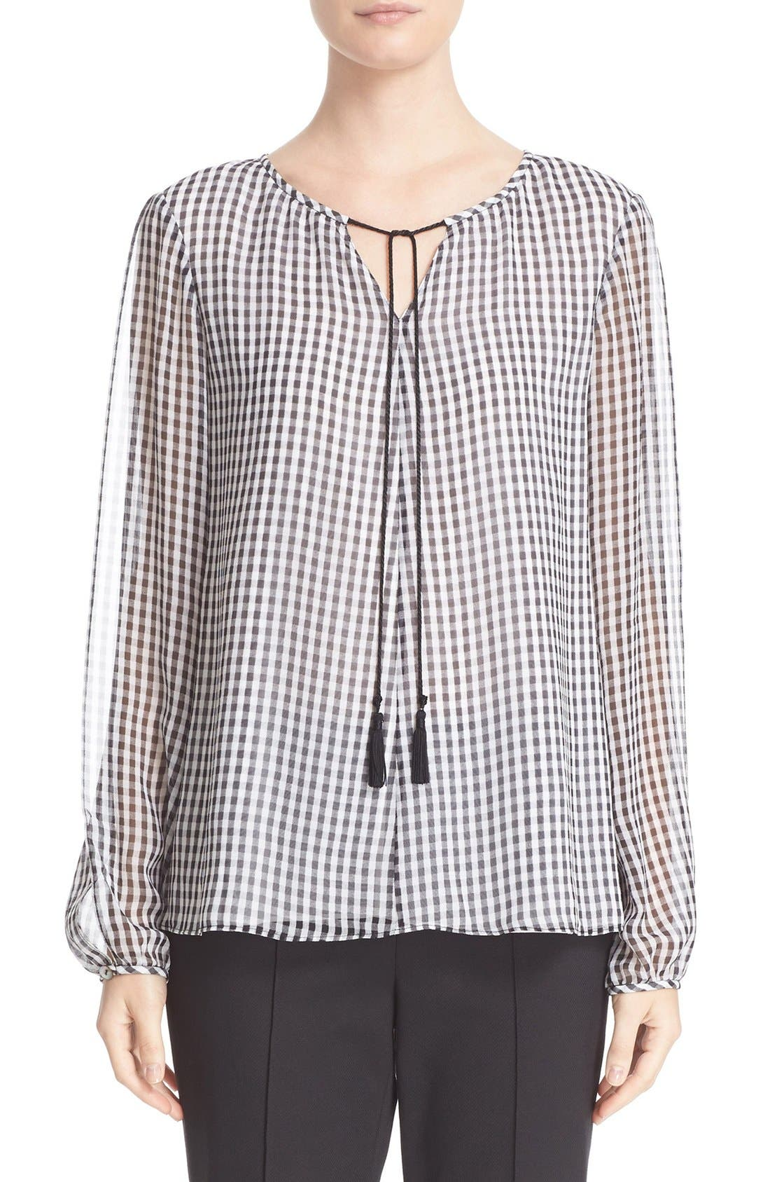 ST. JOHN COLLECTION Gingham Print Silk Georgette Blouse