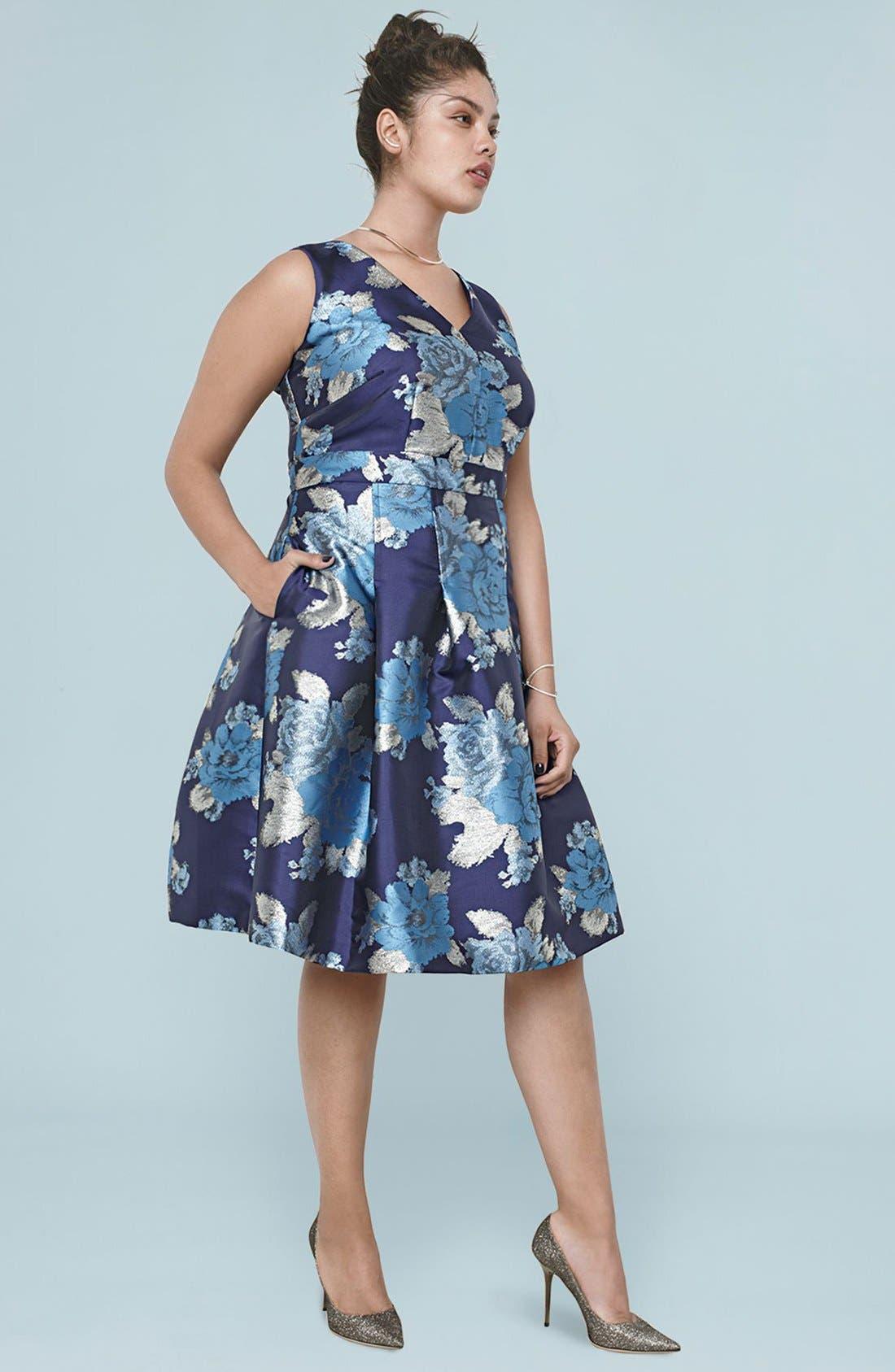 Alternate Image 7  - Eliza J Metallic Jacquard Fit & Flare Dress (Regular & Petite)