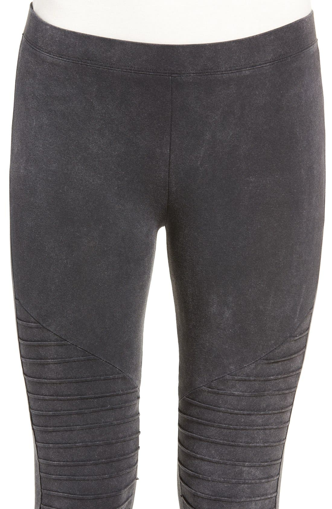 Alternate Image 4  - Nordstrom Moto Washed Cotton Blend Leggings