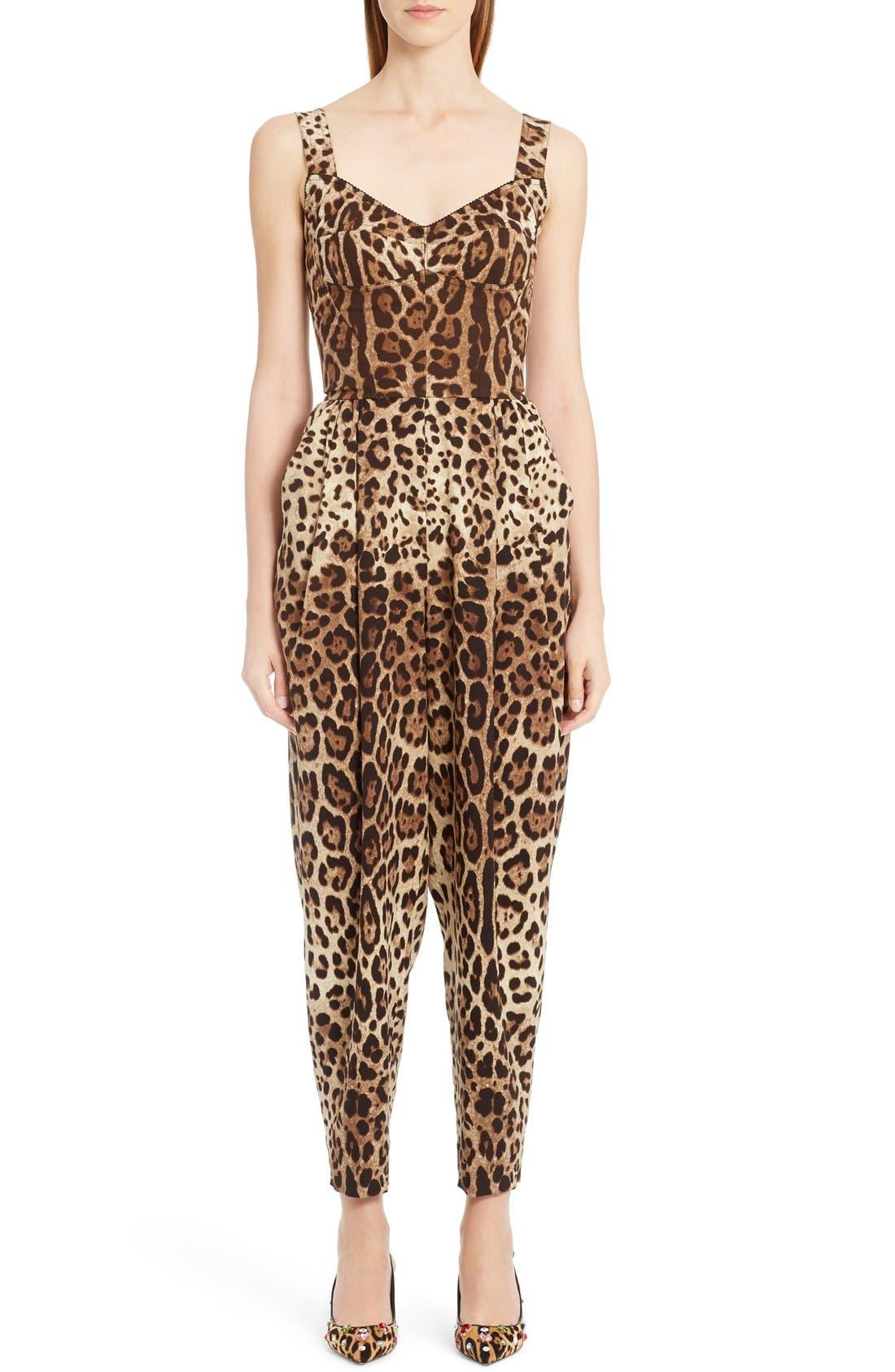 DOLCE&GABBANA Leopard Print Stretch Cady Jumpsuit