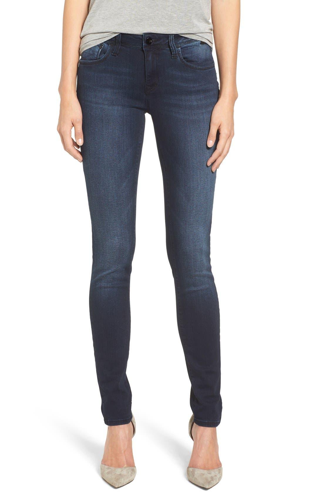 Alternate Image 4  - Mavi Jeans Gold Alexa Stretch Skinny Jeans (Deep Feather) (Regular & Petite)