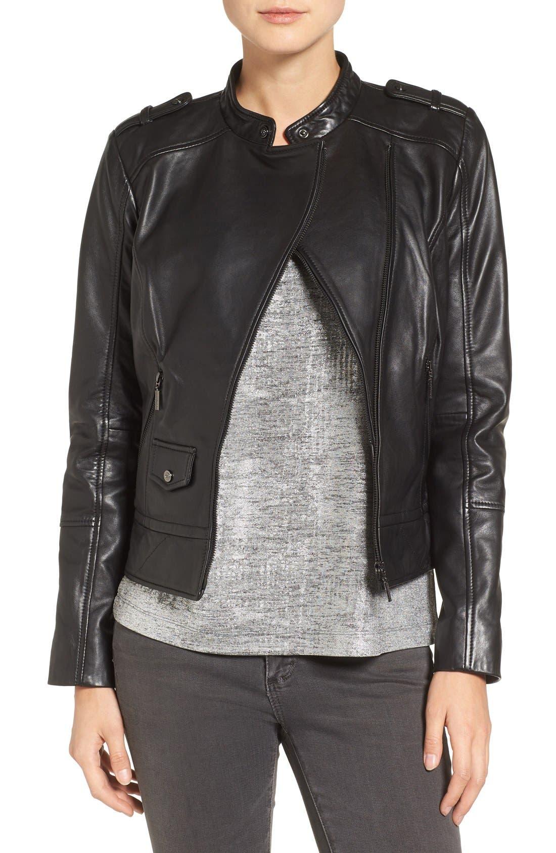 Bernardo Slim Fit Leather Moto Jacket
