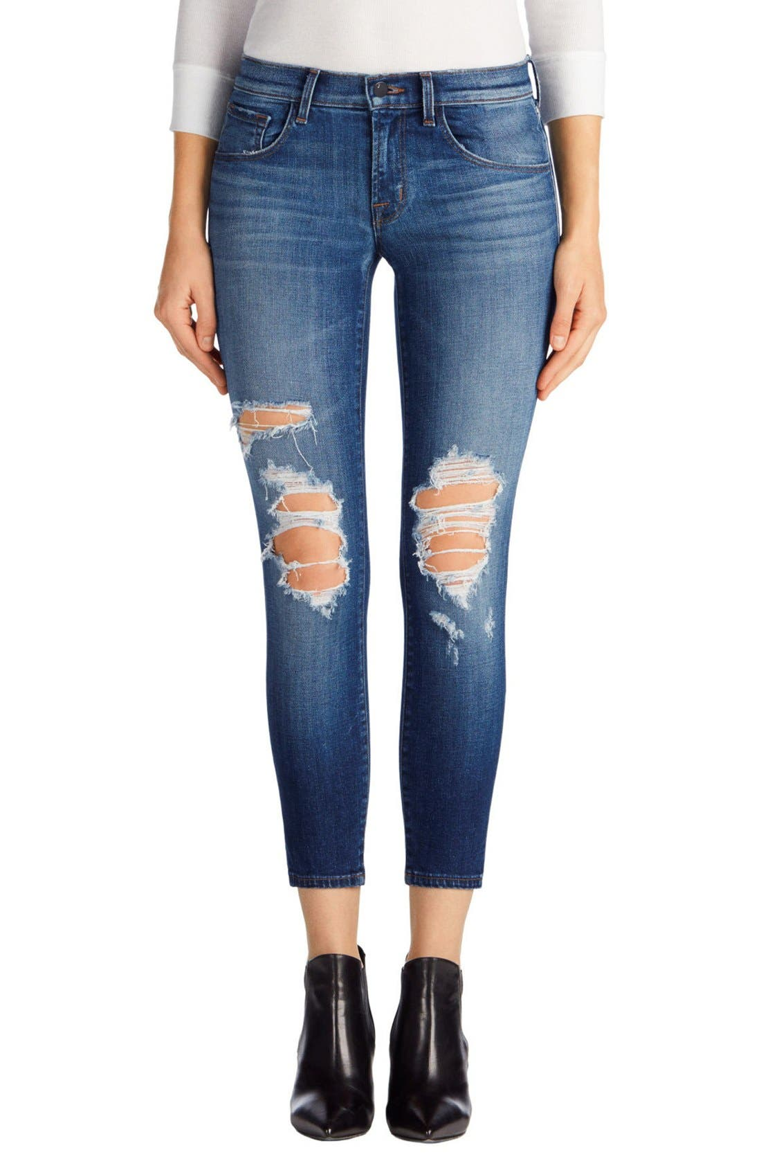 J BRAND Ripped Crop Skinny Jeans