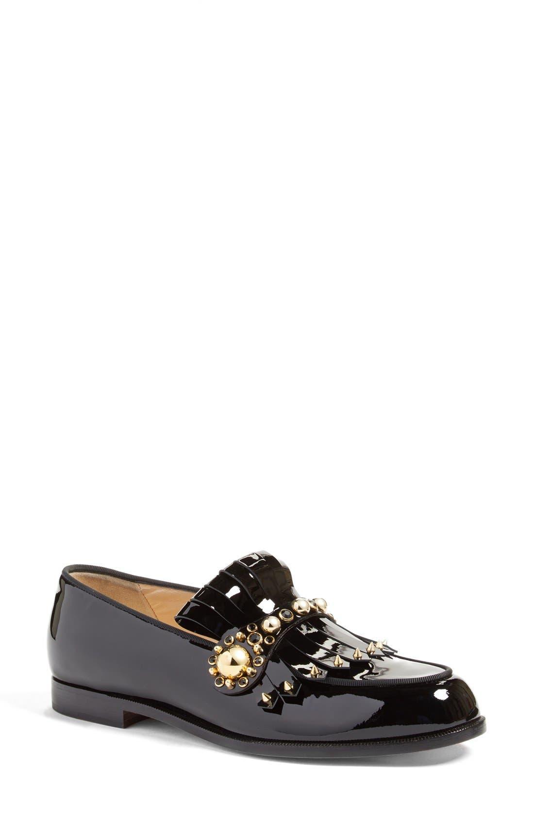 Main Image - Christian Louboutin Octavian Embellished Kilted Loafer
