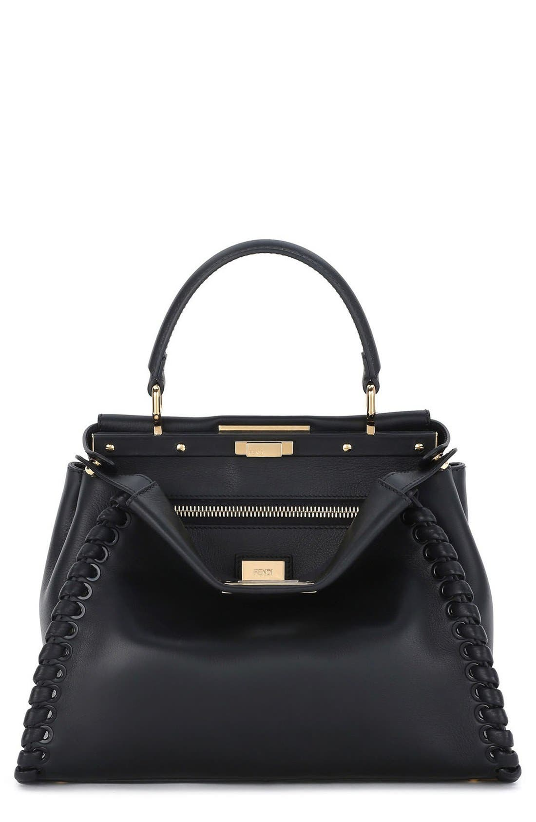 Fendi Medium Peekaboo Whipstitched Calfskin Leather Satchel