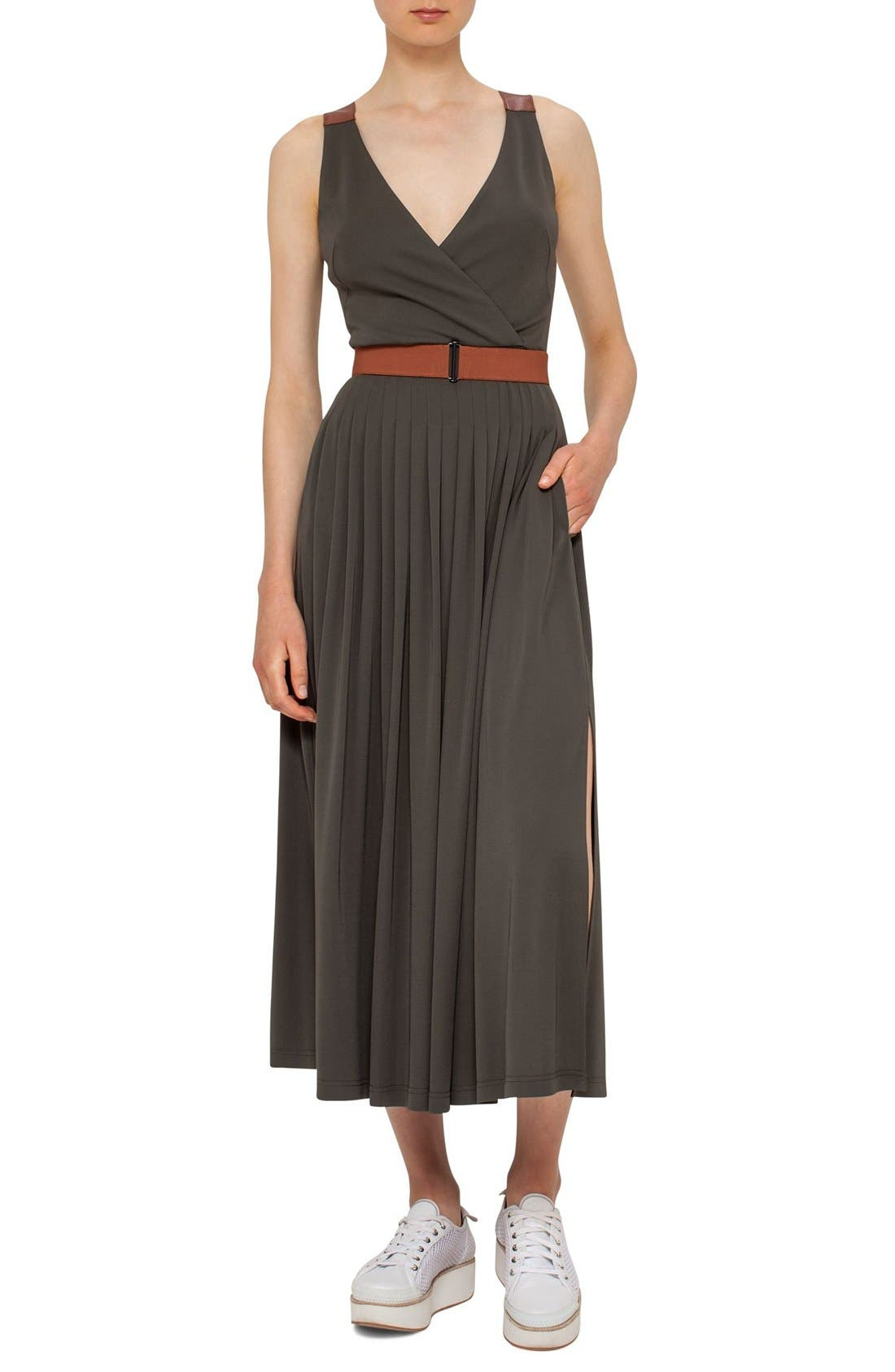 AKRIS PUNTO Leather Detail Midi Dress