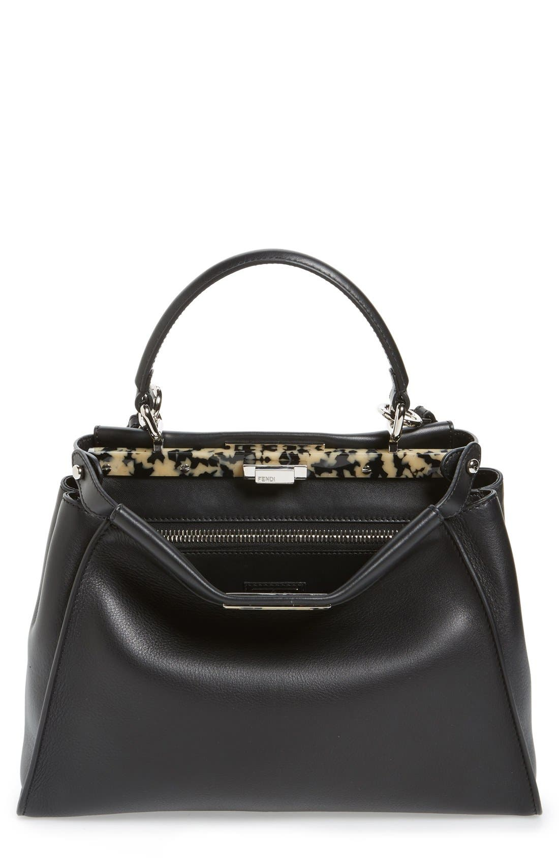 Fendi 'Peekaboo' Leather Satchel with Plexiglas® Trim