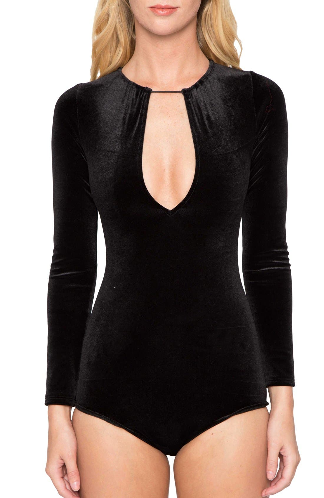 Main Image - Willow & Clay Keyhole Velvet Bodysuit