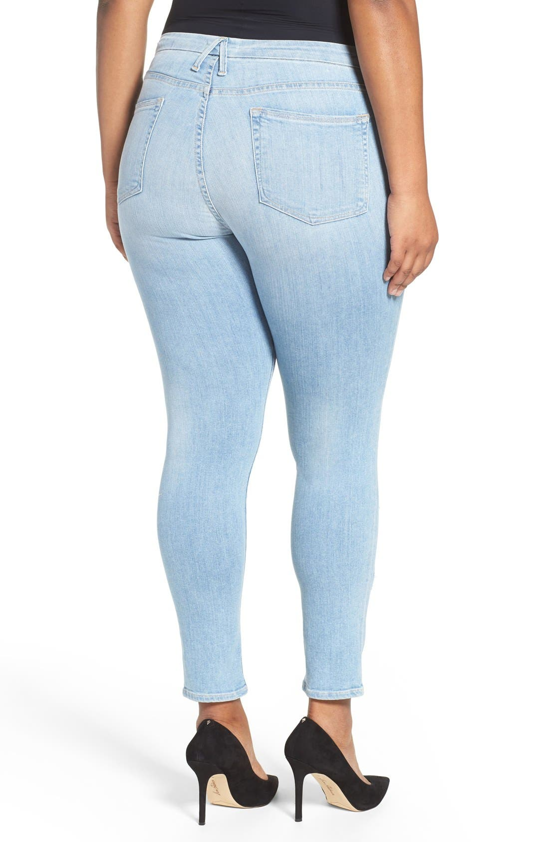 Alternate Image 4  - Good American Good Legs High Rise Ripped Skinny Jeans (Blue 008)