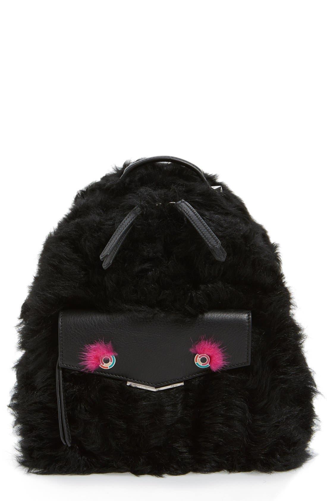 Main Image - Fendi 'Mini Monster' Genuine Shearling & Genuine Mink Fur Backpack