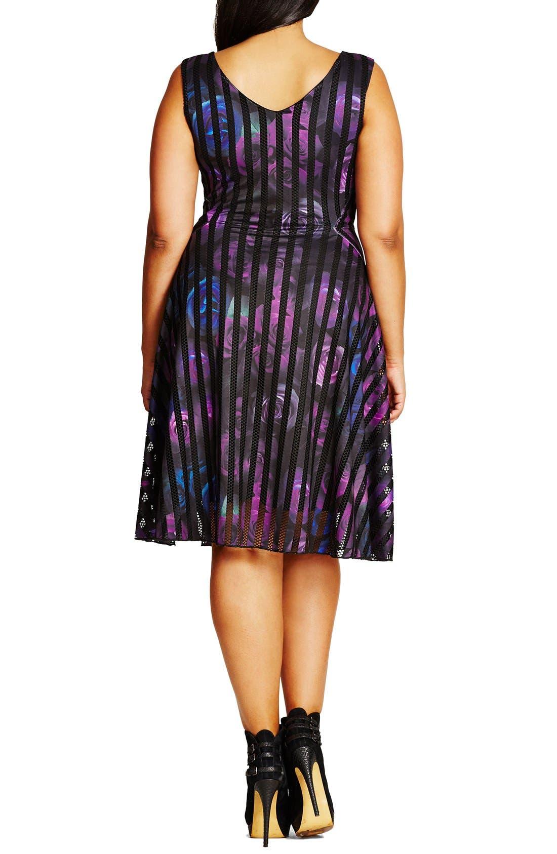 Alternate Image 2  - City Chic Rose Garden Fit & Flare Dress (Plus Size)