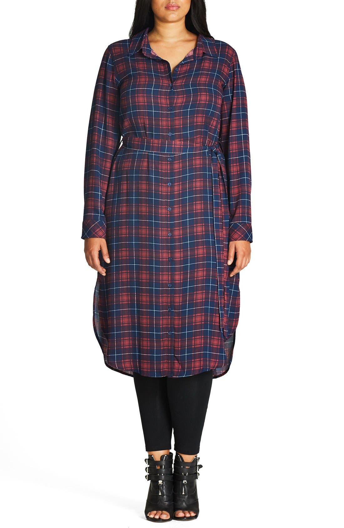 CITY CHIC Check Longline Shirt