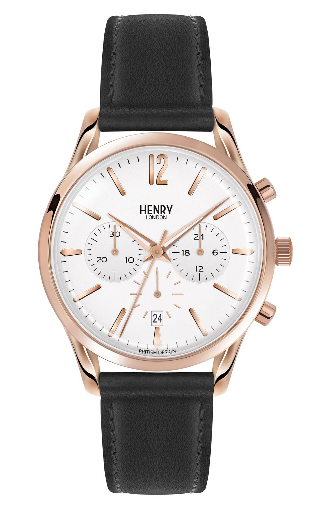 Main Image - Henry London Richmond Chronograph Leather Strap Watch, 39mm