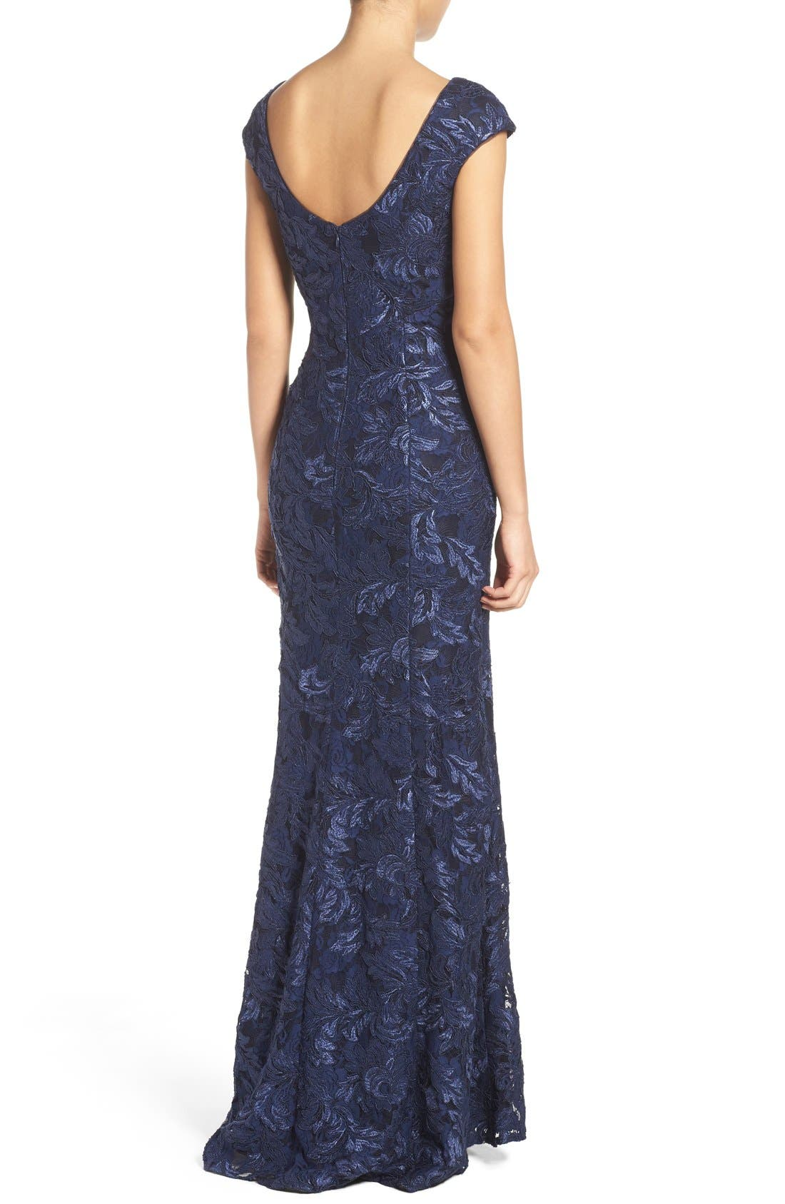 Alternate Image 2  - Xscape Embroidered Lace Mermaid Gown (Regular & Petite)